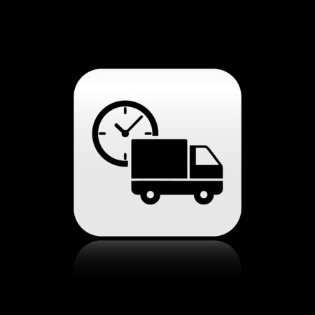 Black Logistics delivery truck and clock icon isolated on black background. Delivery time icon. Silver square button. Vector Illustration