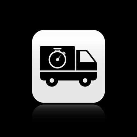 Black Logistics delivery truck and stopwatch icon isolated on black background. Delivery time icon. Silver square button. Vector Illustration