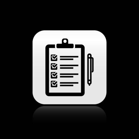 Black Verification of delivery list clipboard and pen icon isolated on black background. Silver square button. Vector Illustration Ilustração
