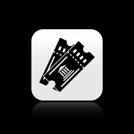 Black Museum ticket icon isolated on black background. History museum ticket coupon event admit exhibition excursion. Silver square button. Vector Illustration Illustration