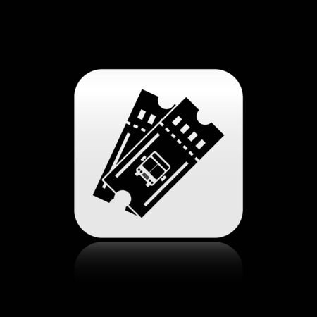 Black Bus ticket icon isolated on black background. Public transport ticket. Silver square button. Vector Illustration