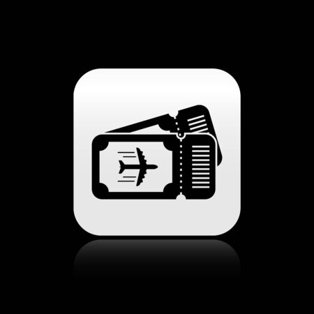 Black Airline ticket icon isolated on black background. Plane ticket. Silver square button. Vector Illustration Çizim