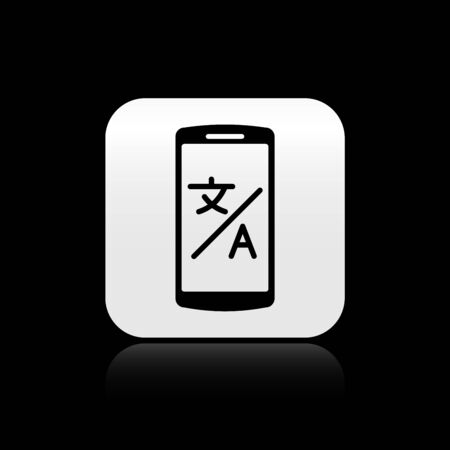 Black Online translator icon isolated on black background. Foreign language conversation icons in chat speech bubble. Translating concept. Silver square button. Vector Illustration