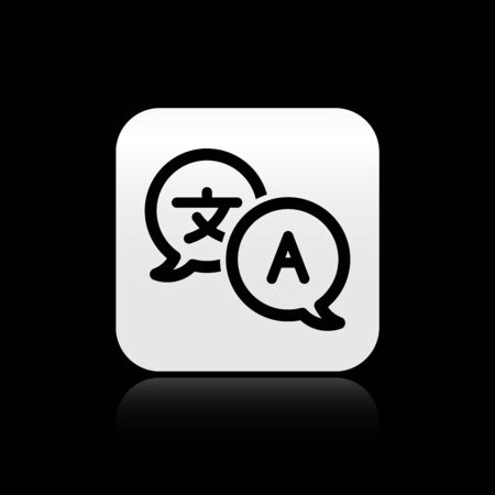 Black Translator icon isolated on black background. Foreign language conversation icons in chat speech bubble. Translating concept. Silver square button. Vector Illustration