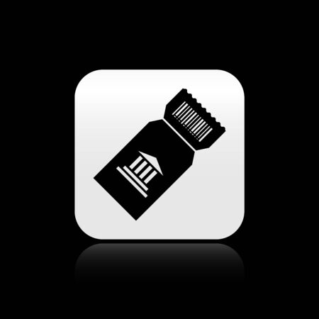 Black Museum ticket icon isolated on black background. History museum ticket coupon event admit exhibition excursion. Silver square button. Vector Illustration Ilustração