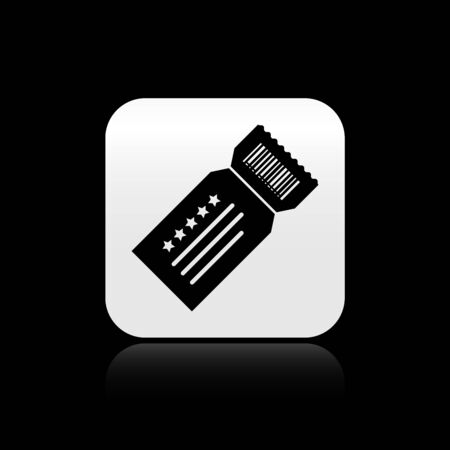 Black Ticket icon isolated on black background. Silver square button. Vector Illustration  イラスト・ベクター素材