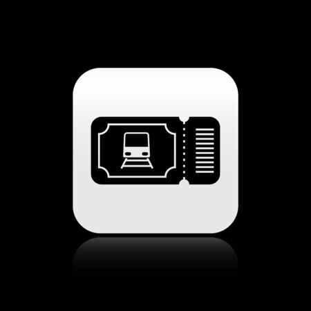 Black Train ticket icon isolated on black background. Travel by railway. Silver square button. Vector Illustration Illustration