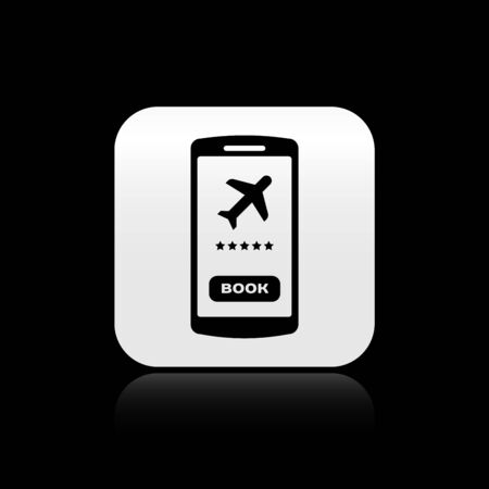Black Smartphone with electronic boarding pass airline ticket icon isolated on black background. Passenger plane mobile ticket for web and app. Silver square button. Vector Illustration Çizim