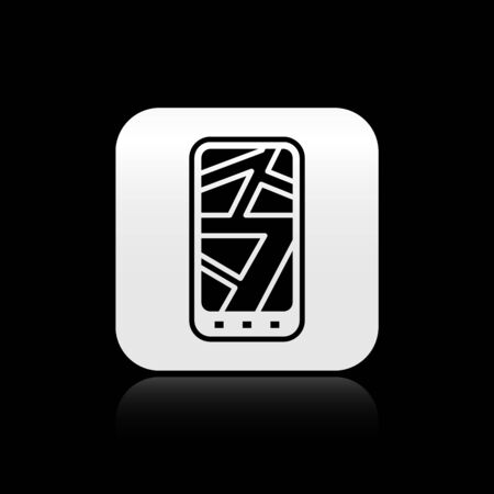 Black Infographic of city map navigation icon isolated on black background. Mobile App Interface concept design.  イラスト・ベクター素材