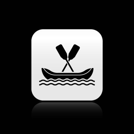 Black Rafting boat icon isolated on black background. Kayak with paddles. Water sports, extreme sports, holiday, vacation, team building. Silver square button. Vector Illustration