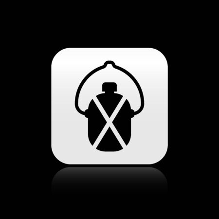 Black Canteen water bottle icon isolated on black background. Tourist flask icon. Jar of water use in the campaign. Silver square button. Vector Illustration Ilustracja