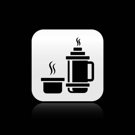 Black Thermo container icon isolated on black background. Thermo flask icon. Camping and hiking equipment. Silver square button. Vector Illustration Иллюстрация