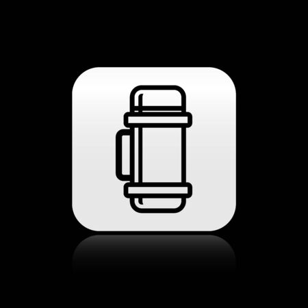Black Thermo container icon isolated on black background. Thermo flask icon. Camping and hiking equipment. Silver square button. Vector Illustration Stock Illustratie