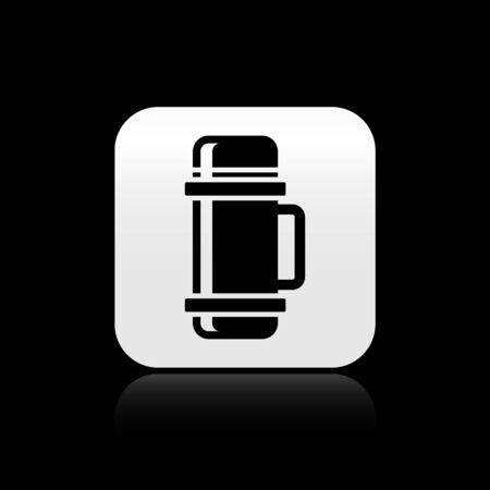 Black Thermo container icon isolated on black background. Thermo flask icon. Camping and hiking equipment. Silver square button. Vector Illustration  イラスト・ベクター素材