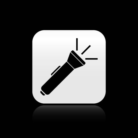 Black Flashlight icon isolated on black background. Silver square button. Vector Illustration