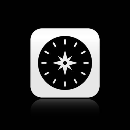 Black Compass icon isolated on black background. Windrose navigation symbol. Wind rose sign. Silver square button. Vector Illustration