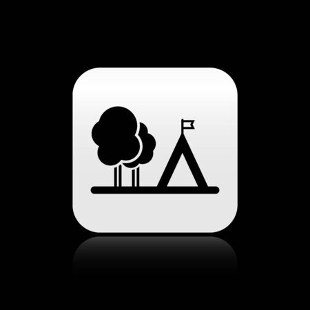 Black Tourist tent with flag icon isolated on black background. Camping symbol. Silver square button. Vector Illustration 矢量图像