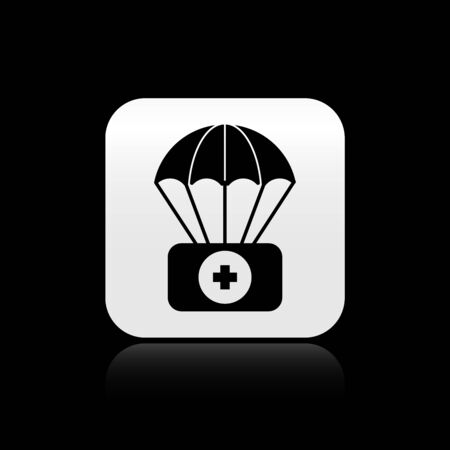 Black Parachute with first aid kit icon isolated on black background. Medical insurance. Silver square button. Vector Illustration Illustration
