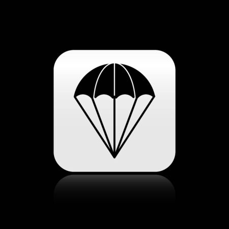 Black Parachute icon isolated on black background. Silver square button. Vector Illustration