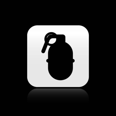 Black Hand grenade icon isolated on black background. Bomb explosion. Silver square button. Vector Illustration