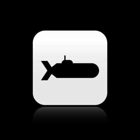 Black Submarine icon isolated on black background. Military ship. Silver square button. Vector Illustration
