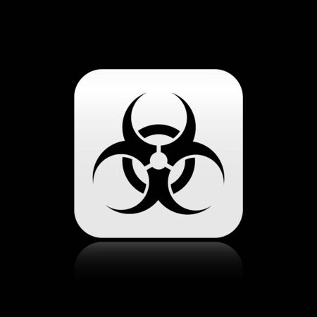 Black Biohazard symbol icon isolated on black background. Silver square button. Vector Illustration