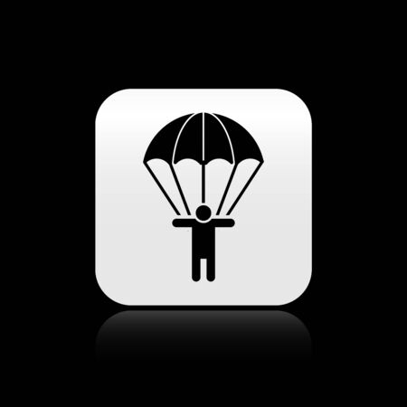 Black Parachute and silhouette person icon isolated on black background. Silver square button. Vector Illustration
