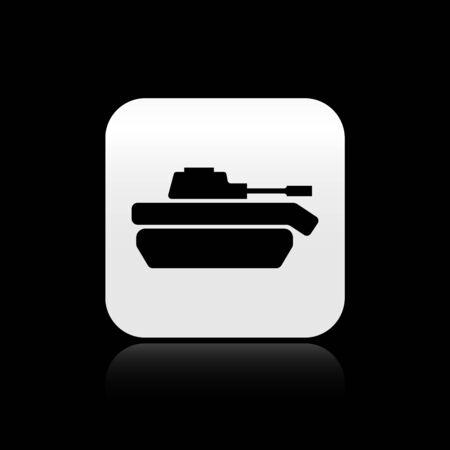 Black Military tank icon isolated on black background. Silver square button. Vector Illustration