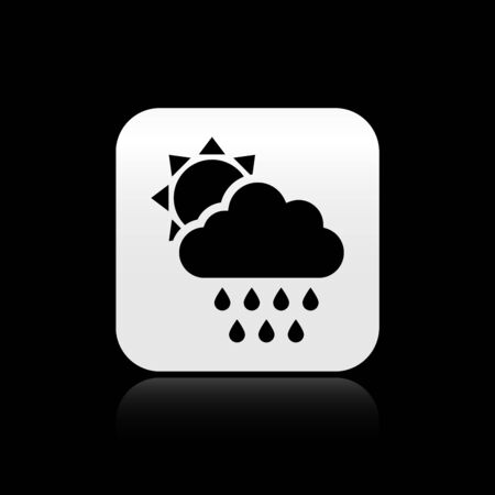 Black Cloud with rain and sun icon isolated on black background. Rain cloud precipitation with rain drops. Silver square button. Vector Illustration