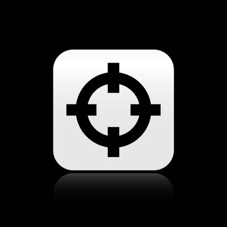 Black Target sport for shooting competition icon isolated on black background. Clean target with numbers for shooting range or shooting. Silver square button. Vector Illustration Ilustrace