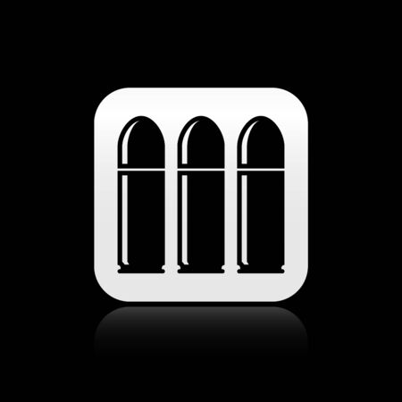 Black Bullet icon isolated on black background. Silver square button. Vector Illustration