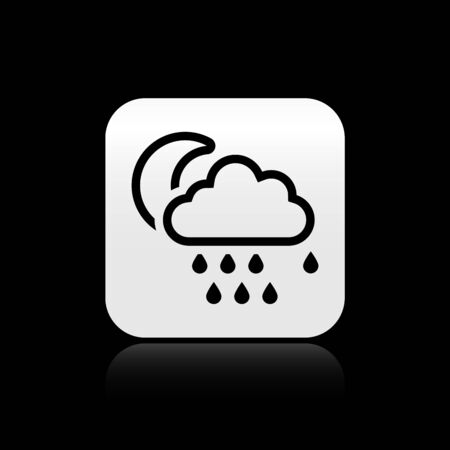 Black Cloud with rain and moon icon isolated on black background. Rain cloud precipitation with rain drops. Silver square button. Vector Illustration