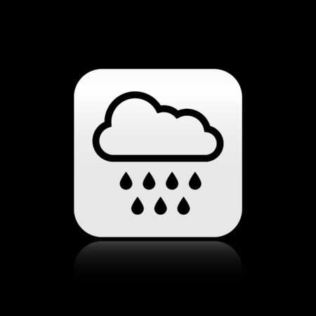 Black Cloud with rain icon isolated on black background. Rain cloud precipitation with rain drops. Silver square button. Vector Illustration