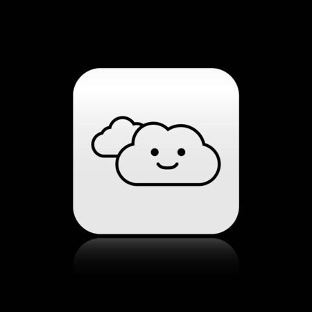 Black Cloud icon isolated on black background. Silver square button. Vector Illustration Çizim