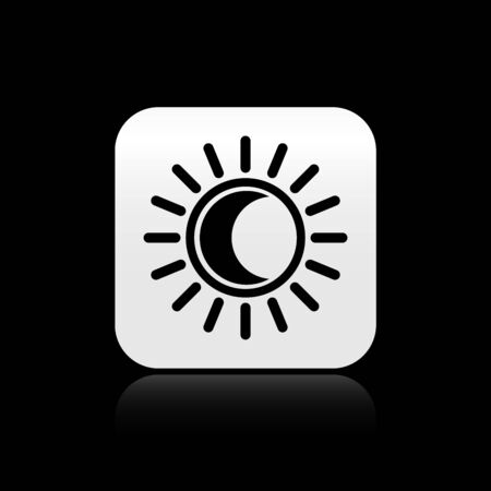 Black Eclipse of the sun icon isolated on black background. Total sonar eclipse. Silver square button. Vector Illustration