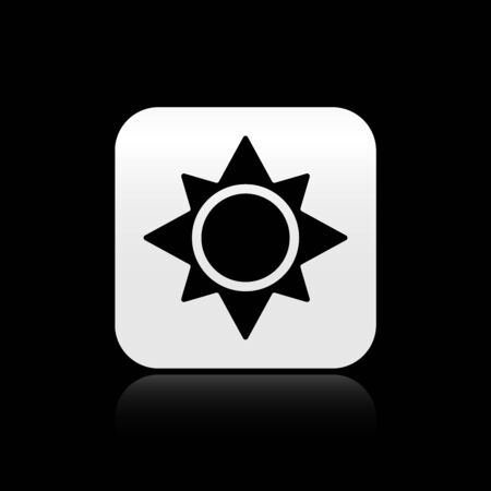 Black Sun icon isolated on black background. Silver square button. Vector Illustration