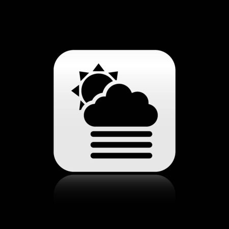 Black Fog and cloud with sun icon isolated on black background. Silver square button. Vector Illustration