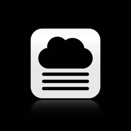 Black Fog and cloud icon isolated on black background. Silver square button. Vector Illustration