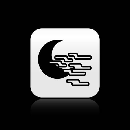 Black Fog and moon icon isolated on black background. Silver square button. Vector Illustration Illustration
