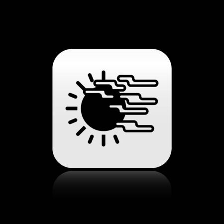 Black Fog and sun icon isolated on black background. Silver square button. Vector Illustration