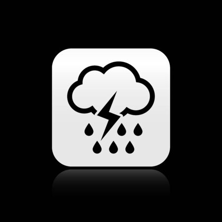 Black Cloud with rain and lightning icon isolated on black background. Rain cloud precipitation with rain drops.Weather icon of storm. Silver square button. Vector Illustration Ilustração