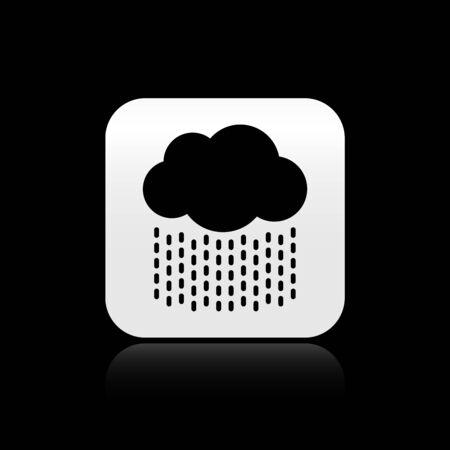 Black Cloud with rain icon isolated on black background. Rain cloud precipitation with rain drops. Silver square button. Vector Illustration