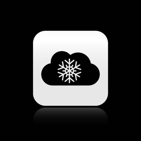 Black Cloud with snow icon isolated on black background. Cloud with snowflakes. Single weather icon. Snowing sign. Silver square button. Vector Illustration Illustration