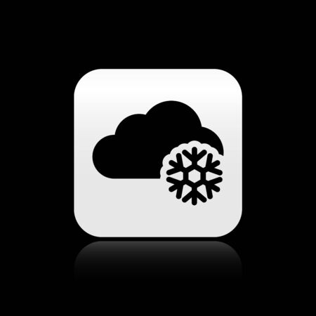 Black Cloud with snow icon isolated on black background. Cloud with snowflakes. Single weather icon. Snowing sign. Silver square button. Vector Illustration Çizim