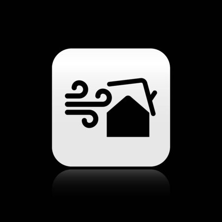 Black Tornado swirl damages house roof icon isolated on black background. Cyclone, whirlwind, storm funnel, hurricane wind icon. Silver square button. Vector Illustration Stok Fotoğraf - 131360253
