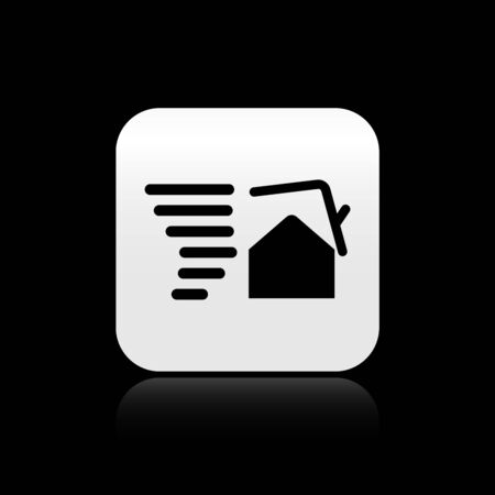 Black Tornado swirl damages house roof icon isolated on black background. Cyclone, whirlwind, storm funnel, hurricane wind icon. Silver square button. Vector Illustration