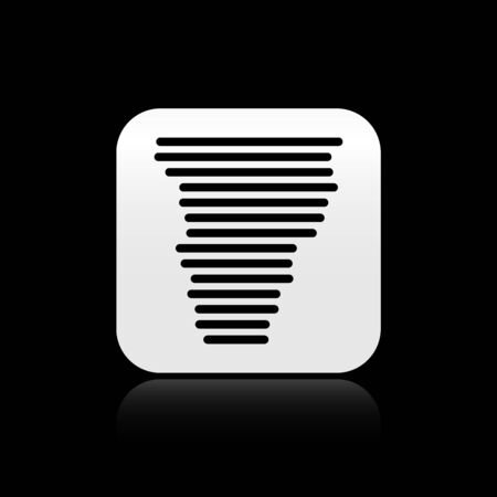 Black Tornado icon isolated on black background. Cyclone, whirlwind, storm funnel, hurricane wind or twister weather icon. Silver square button. Vector Illustration 向量圖像