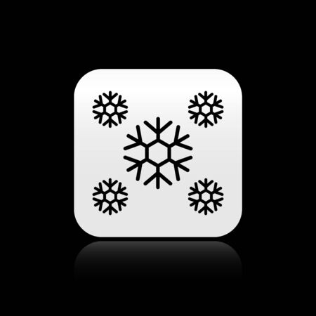 Black Snow icon isolated on black background. Silver square button. Vector Illustration