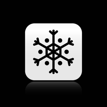 Black Snowflake icon isolated on black background. Silver square button. Vector Illustration Çizim