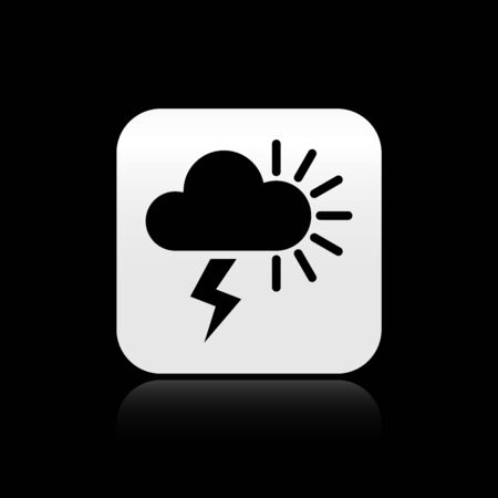 Black Storm icon isolated on black background. Cloudy with lightning and sun sign. Weather icon of storm. Silver square button. Vector Illustration